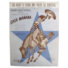 Vintage Sheet Music - The Night is Young & You're So Beautiful with Cowgirl
