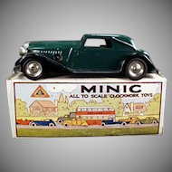 Vintage Tri-ang Minic Wind-up Tin Car  - Vauxhall Cabriolet with Box