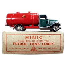Vintage Tri-Ang Minic Petrol Tank Lorry - Tin Gas Truck with Original Box