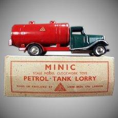Vintage Tri-Ang Minic Petrol Tank Lorry - Tin Gas Truck with Original Box