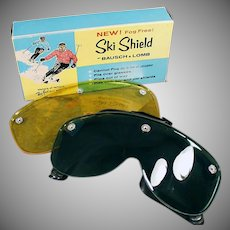 Vintage 1960's Bausch & Lomb Ski Shield Goggles - Original Box with Two Lenses