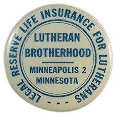 Vintage Celluloid Advertising Tape Measure - Lutheran Brotherhood Life Insurance