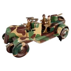 Vintage Tin Wind-Up Toy Jeep - Camouflage Military Vehicle - 1920's-1930's
