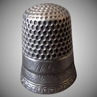 Vintage Simply Detailed Silver Sewing Thimble – Size 7