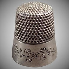 Vintage Sterling Silver Thimble - Ketcham & McDougall with Pretty Design