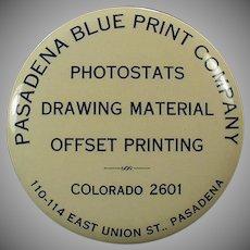 Vintage Celluloid Advertising Mirror Paperweight - Pasadena Blue Print