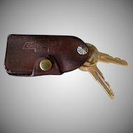 Vintage Leather Car Key Case - Chevrolet Oldsmobile Advertising