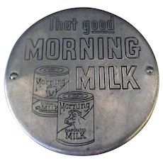 Vintage Morning Milk Opener and Saver Lid - Aluminum