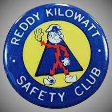 Vintage Reddy Kilowatt Advertising Pinback - Safety Club