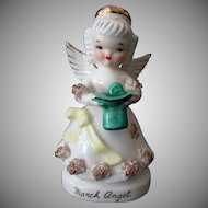 Vintage March Angel Figure with Green Irish Top Hat