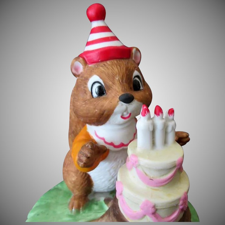 Vintage Chipmunk Birthday Cake Music Box If I Could Talk To The