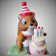 Vintage Porcelain Music Box – Chipmunk with Birthday Cake - If I Could Talk To the Animals