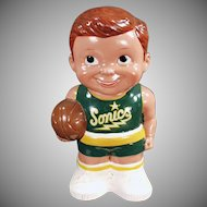Vintage Penny Bank - Seattle Sonics Basketball Player - Great Condition