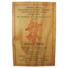 Vintage Menu and Program for 1927 Boy Scout Banquet