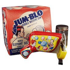 Vintage Jum-Blo Bubble Blowing Machine Gun Toy with Original Box