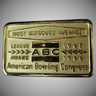 Vintage Belt Buckle – 1960's ABC Most Improved Average Bowling Award