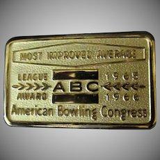 Vintage Belt Buckle – 1960's ABC Most Improved Average Bowling Award
