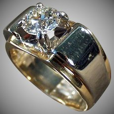 Man's Vintage 14k Gold and Palladium Diamond  - 1.85 Carat Diamond - Size 10 1/2 - 11