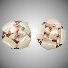 Vintage Clip-On Costume Jewelry Earrings - Pastel Pink & White Shell Pieces - Japan