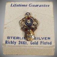Vintage Elks Lodge Lapel Pin - Sterling Silver with Original Card