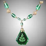 Vintage Czech Necklace - Green Glass with Intaglio Pendant