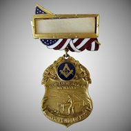 Vintage Masonic Medal - 1917 Grand Lodge Montana with Gold Panning References