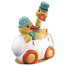 Vintage German Candy Container - Two Easter Ducks in an Egg Car