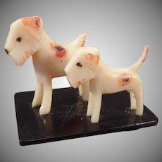 Vintage Celluloid Miniature - 2 Celluloid Terrier Dogs