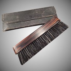 Vintage Clothes Brush Natural Ebony Wood Handle with Original Travel Pouch