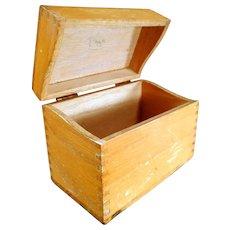 Vintage Oak File Box - Standard Index Card Size for Kitchen or Office
