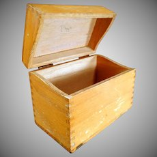 Vintage Oak File Box - Standard Index Card Size for Kitchen or Office