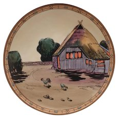 Vintage Morimura Nippon - Hanging Plaque with Rustic Cottage and Chickens Scene