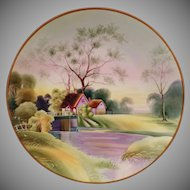 Vintage Morimura Nippon Hanging Plate – Lavender and Green Springtime Scene