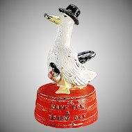 Vintage Cast Iron Hubley Duck Bank - Save for a Rainy Day 1930's