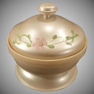 Vintage Covered Celluloid Powder Box – Pearlized Celluloid Dresser Jar