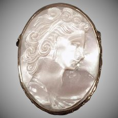 Vintage Mother of Pearl Carved Cameo Pin - Beautiful Iridescent White Cameo