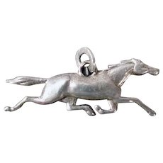 Vintage Sterling Silver Charm - Dimensional Running Horse at Full Stride Gallop