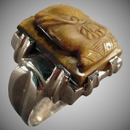 Man's Vintage 10k Yellow Gold Tiger Eye Cameo Ring