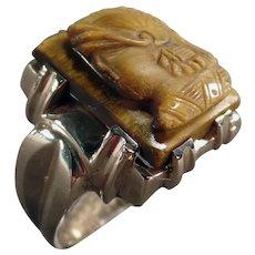 Man's Vintage 10k Yellow Gold Tiger Eye Cameo Ring