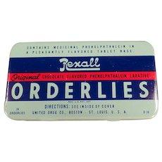 Vintage Medicine Tin - Old Rexall Orderlies Laxative Tin
