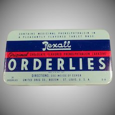 Vintage Medicine Tin - Old Rexall Orderlies Laxative Tin