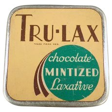 Vintage Medicine Tin - Tru-Lax Chocolate Mintized Laxative Tin