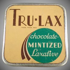 Vintage Medicine Tin - Tru-Lax Chocolate Mintized Laxative Tin