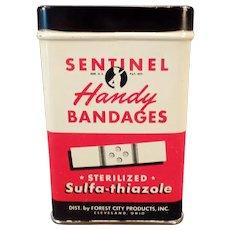 Vintage Bandaid Tin - Old Sentinel Handy Bandages Tin