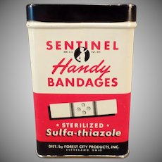 Vintage Bandaid Tin - Old Sentinel Handy Bandages Tin