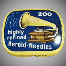 Vintage Phonograph Needle Tin - Highly Refined Herold - Partially Full of Steel Needles