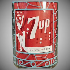 Vintage 7-Up Advertising Soda Glass - Unusual Seven-Up Glass