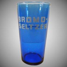 Vintage Cobalt Blue Bromo-Seltzer Advertising Glass