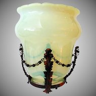 Vintage Opalescent Custard Art Glass Light Shade for Gas Fixture