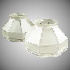 Pair of Vintage Light Shades - Frosted Glass with Angular Shape - Large Neck Size